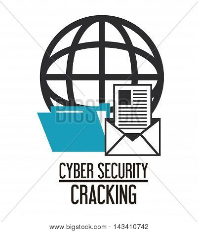 envelope file global cyber security system cracking technology icon. Flat design. Vector illustration