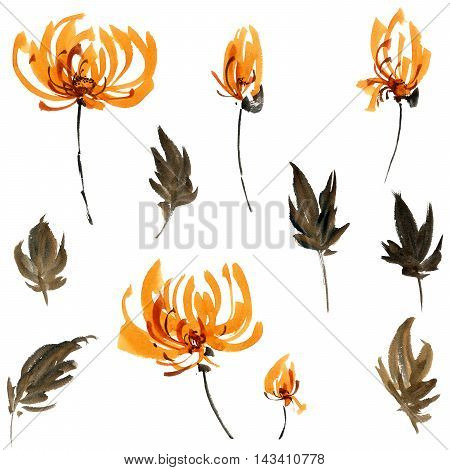 Watercolor and ink illustration of orange flowers buds and leaves. Oriental traditional painting in style sumi-e gohua.