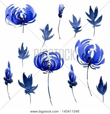 Watercolor and ink illustration of blue flowers buds and leaves. Oriental traditional painting in style sumi-e gohua.