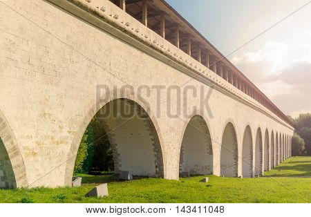 Fragment view of Rostokino Aqueduct with sunflare effect