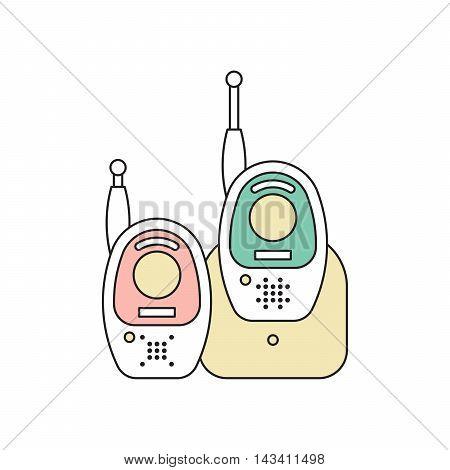 Vector baby monitor. Flat vector baby monitor icon. Baby phone.