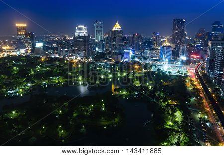 Bangkok cityscape in Thailand. Bangkok night view in business district Thailand. Bangkok skyscaper. Bangkok is capital city of Thailand