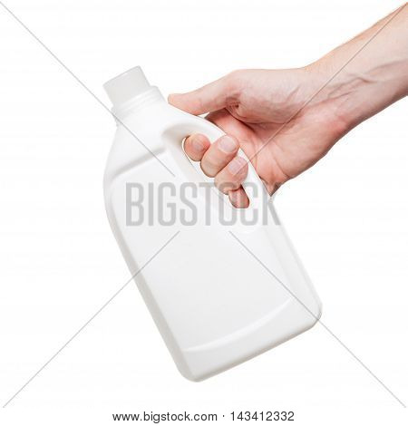 White Plastic Bottle In Hand, Isolated On White Background
