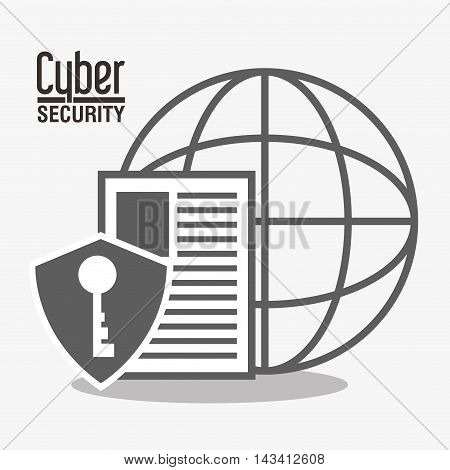 padlock key document global cyber security system technology icon. Flat and silhouette design. Vector illustration
