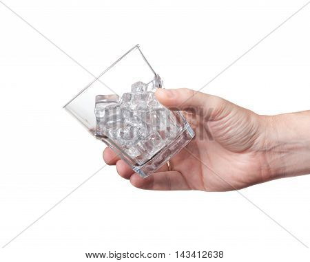 Glass For Whiskey With Ice In His Hand Isolated White