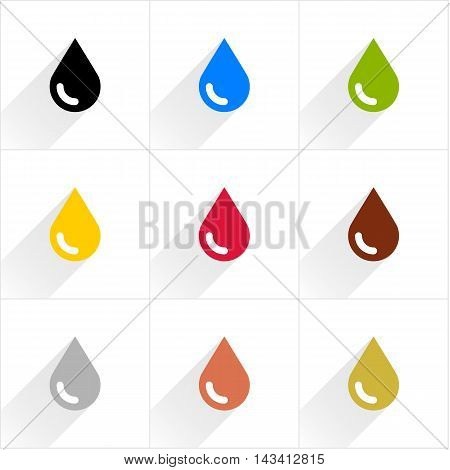 Drop set petroleum water eco oil blood chocolate silver copper gold in simple flat style. Black blue green yellow crimson brown gray colors shapes with shadow on white background