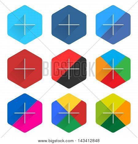 9 popular social network web icon set with plus adding sign long shadow. Hexagon button on white background. New simple flat clean plain tidy solid style. Vector illustration design element 10 eps