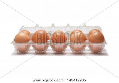 Raw Eggs In  Plastic Bag With Shadow Isolated On White