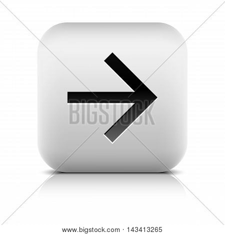 Web icon with black arrow sign. Series in a stone style. Rounded square button with shadow reflection on white background. Vector illustration graphic clip-art design element save in 8 eps