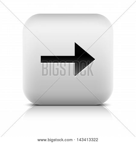 Gray icon with black arrow sign. Rounded square button with shadow reflection on white background. Series in a stone style. Vector illustration graphic clip-art design element save in 8 eps