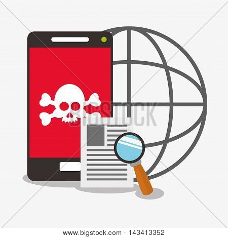 skull smartphone global lupe cyber security system technology icon. Flat design. Vector illustration