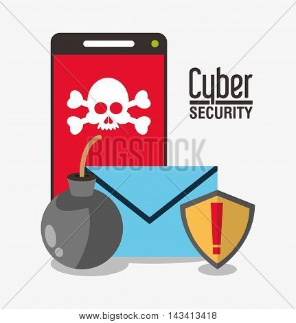 smartphone skull envelope cyber security system technology icon. Flat design. Vector illustration