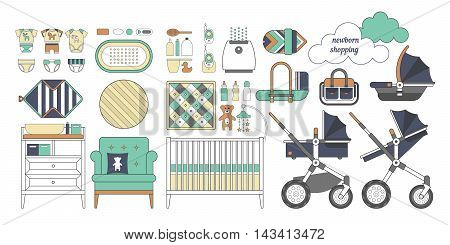 Newborn essentials shopping list. Vector baby stuff for a newborn. The plan purchases for a newborn. Baby buy set. Cribs baby stroller childrens clothing toys and other baby stuff for a newborn.