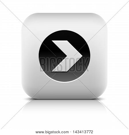 Icon with arrow sign in black circle. Series in a stone style. Rounded square button with shadow add reflection on white background. Vector illustration internet graphic web design element in 8 eps
