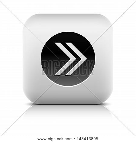 Icon with arrow sign in black circle. Rounded square button with shadow add reflection on white background. Series in a stone style. Vector illustration internet web design element in 8 eps