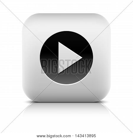 Web Icon with play arrow sign in black circle. Series in a stone style. Rounded square internet button with reflection and shadow on white background. Vector illustration design element in 8 eps