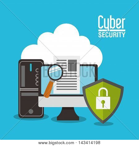 shield lupe document computer cyber security system technology icon. Flat design. Vector illustration