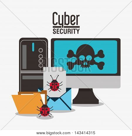 padlock computer skull envelpe file cyber security system technology icon. Flat design. Vector illustration