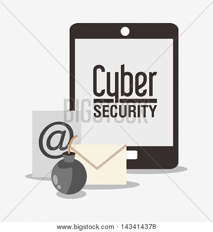 tablet envelope bomb cyber security system technology icon. Flat design. Vector illustration