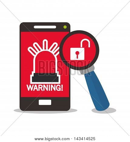 padlock lupe smartphone cyber security system technology icon. Flat design. Vector illustration