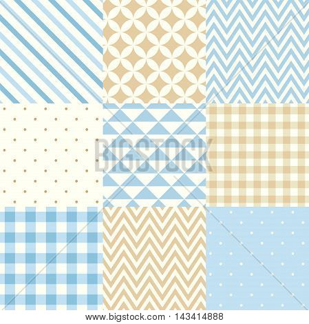 Vector set of nine seamless geometric patterns for scrapbooking in blue and beige colors.