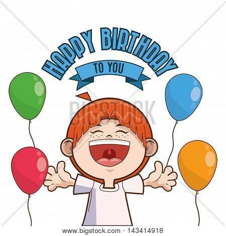 kid boy balloons cartoon scream celebration happy birthday icon. Colorful design. Vector illustration