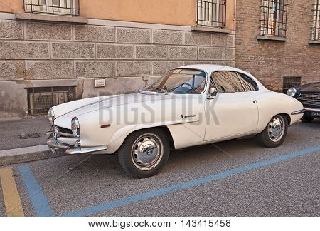 FAENZA ITALY - NOVEMBER 1: vintage Italian sportscar Alfa Romeo Giulia SS also called Giulietta Sprint Speciale (1964)in classic car rally during the festival