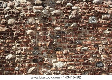 ruined stone wall of ancient castle in Torun Poland