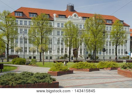 Poland Upper Silesia Gliwice Administrative Court Building sunlit in springtime seen from Doncaster Square