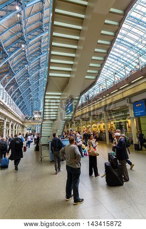 London UK - June 16 2016: St. Pancras Railway Station with unidentified people. St Pancras Railway station is a central London railway terminus and Grade I listed building