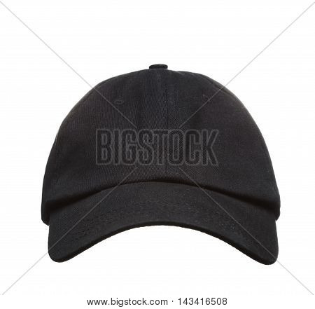 Front View Of Black Baseball Cap Isolated On White Background