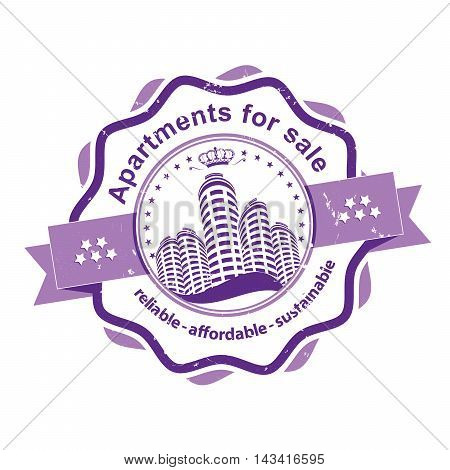 Apartments for sale - reliable, affordable, sustainable - bi-color grunge stamp / ribbon / sticker for real estate agencies. Print colors used. Grunge layer is applied exactly on the colored stamp.