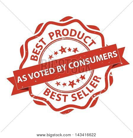 Best Product, Best seller, as voted by consumers - grunge red printable label / stamp. Print colors used