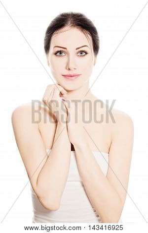 Spa Woman Fashion Model isolated on White Background. Beauty Portrait