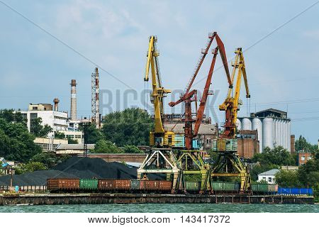 Harbor on river Don with cargo vessels