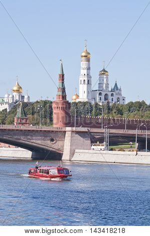 MOSCOW RUSSIA - September 16.2014: View on the towers of Kremlin from the side of the Moskva River