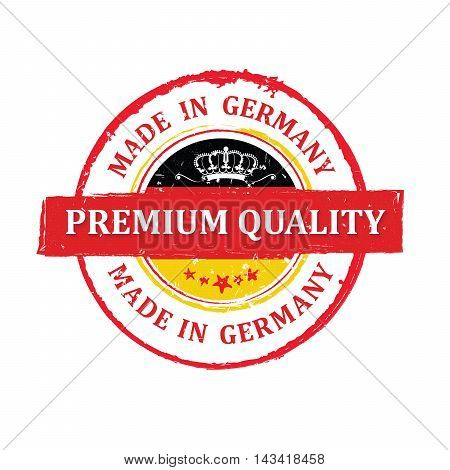 Premium Quality, Made in Germany printable label with German flag colors. CMYK colors used. Grunge layer is applied exactly on the colored stamp. Easy to modify or to apply on any color background