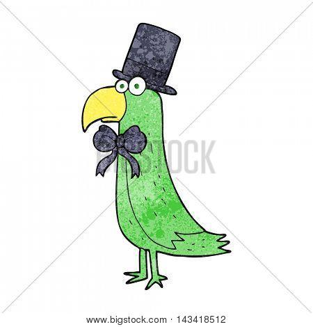 freehand textured cartoon posh parrot