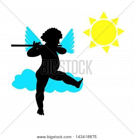 Angel with blue wings playing the flute, and sitting on a cloud in the sun. Figure silhouette. The concept of a good mood. Vector illustration.
