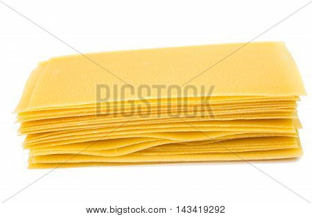 pasta for lasagna on a white background