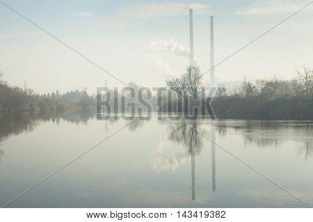 Poland Krakow Cogeneration Plant CHP seen through the smog