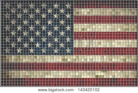 Abstract USA mosaic flag with effect,  Grunge mosaic of The United States flag, Abstract USA mosaic flag with effect, Grunge mosaic of The USA flag,  Flag of USA