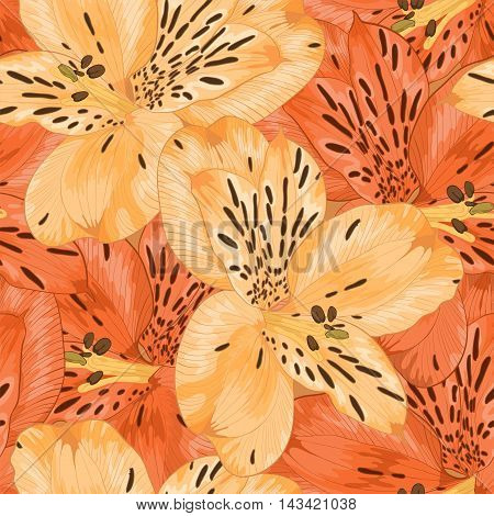 Beautiful seamless background with yellow and orange alstroemeria flower. Hand-drawn with effect of drawing in watercolor