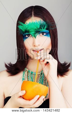 Yound Woman Fashion Model with Tropical Cocktail