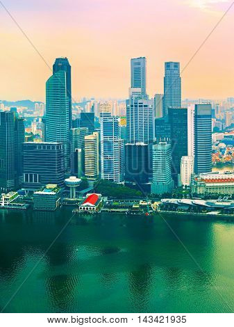 Singapore In Colorful Sunset
