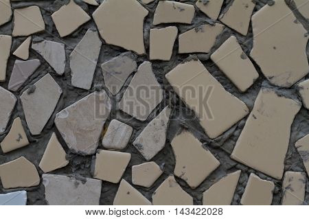 broken yellow tile and mortar background image