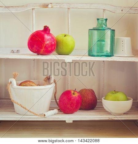 Vintage kitchen shelf with retro filter effect