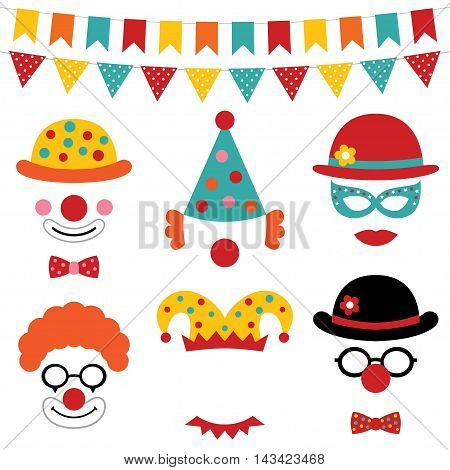 Circus and clown photo booth props and party decoration