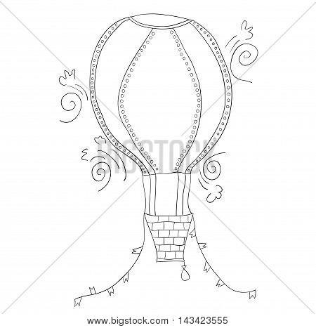 Uncolored cartoon air ballon on white background. Vector.