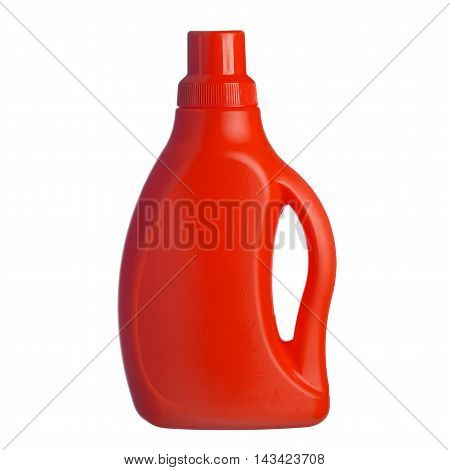 Red Plastic Bottle Of Shampoo, Conditioner, Hair Rinse, Gel, Iso